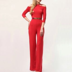 Lada lucci red 3/4 sleeve stretch jumpsuit new